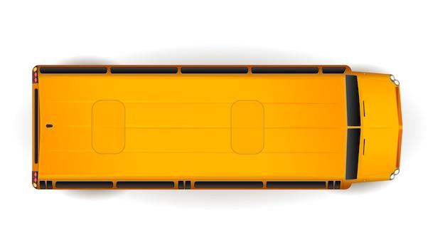 Odgórny Widok Jaskrawy żółty Realistyczny Autobus Szkolny Na Bielu Premium Wektorów