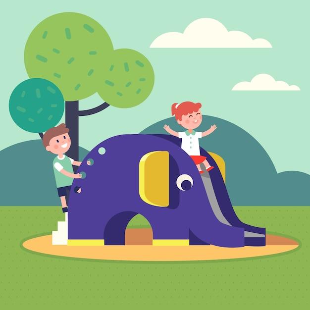Odkryty park publiczny dla dzieci Darmowych Wektorów