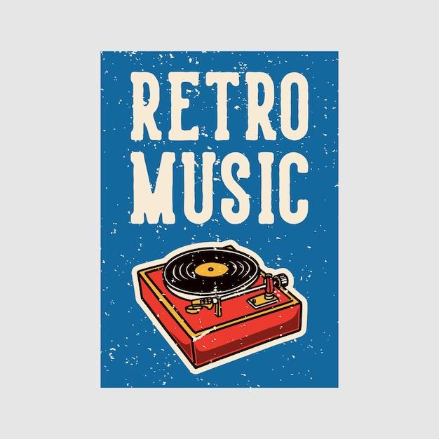 Odkryty Plakat Retro Muzyka Vintage Ilustracji Premium Wektorów