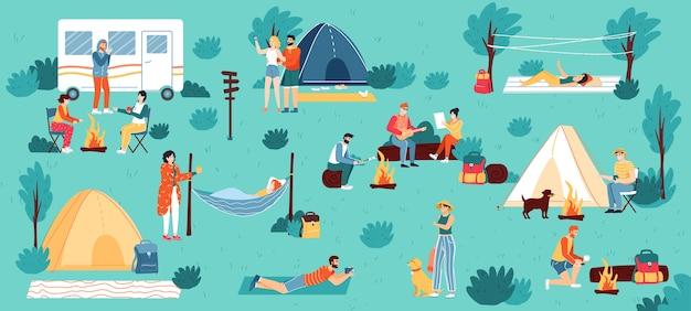 Odkryty Tło Camping Premium Wektorów