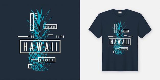 Odkrywanie Hawajów. Stylowa Koszulka I Nowoczesny Design Odzieży Premium Wektorów