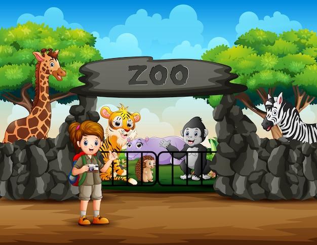 Odkrywca Widzi Zwierzęta Spoza Wejścia Do Zoo Premium Wektorów