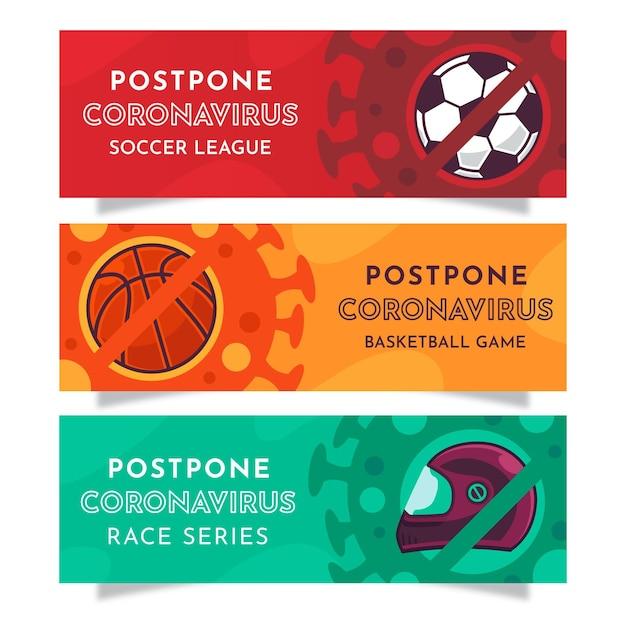 Odłóż Banery Lig Sportowych Koronawirusa Darmowych Wektorów
