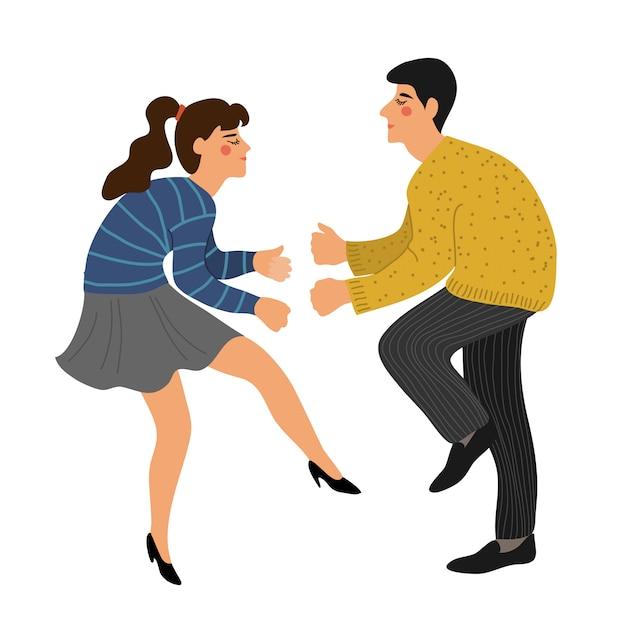 Odosobniona para tanczy skręt. ludzie w tańcu. Premium Wektorów
