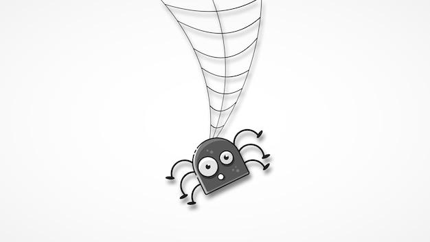 Odosobniona straszna pajęczyna Premium Wektorów