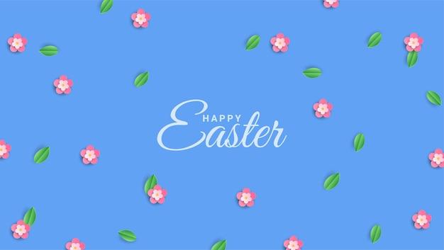 Odręcznie Wesołych świąt Na Tle Kwitnących Wiosennych Kwiatów Wiśni Premium Wektorów