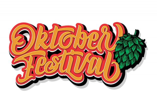 Odręczny napis oktoberfest. projekt typografii oktoberfest dla karty z pozdrowieniami i plakatu. banner festiwalu piwa. obchody szablonu projektu. ilustracja. Premium Wektorów