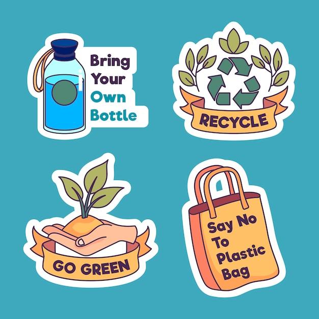 Odrzuć Plastikowy I Poddaj Recyklingowi Zbiór Odznak Ekologicznych Darmowych Wektorów