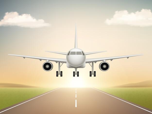 Odrzutowy Samolot Na Pasie Startowym. Start Samolotu Z Cywilnej Linii Lotniczej Do Realistycznych Ilustracji Błękitnego Nieba Premium Wektorów