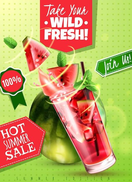 Odświeżająca Detox Wody Lata Sprzedaż Z świeżymi Arbuz Nowymi Liśćmi Pije Szklaną Realistyczną Reklamową Plakatową Wektorową Ilustrację Darmowych Wektorów