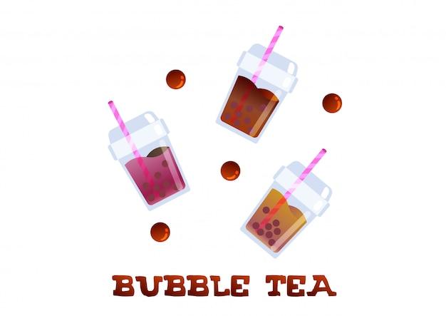 Odświeżanie bubble tea modny wektor napojów Premium Wektorów