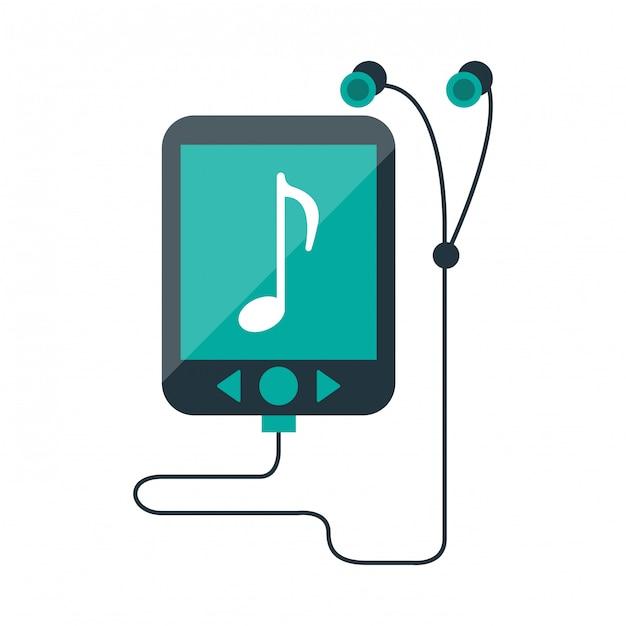Odtwarzacz muzyczny mp3 ze słuchawkami Premium Wektorów