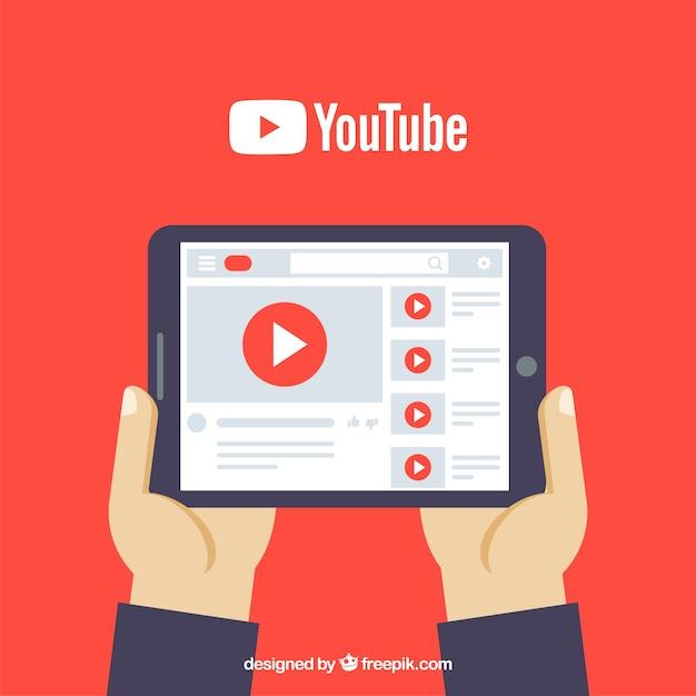 Odtwarzacz youtube w urządzeniu o płaskiej konstrukcji Darmowych Wektorów
