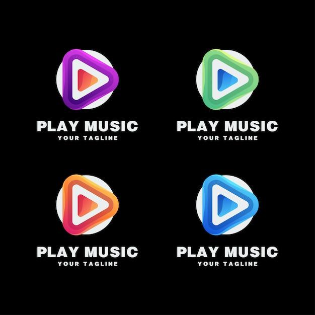 Odtwórz Zestaw Logo Muzyki Premium Wektorów