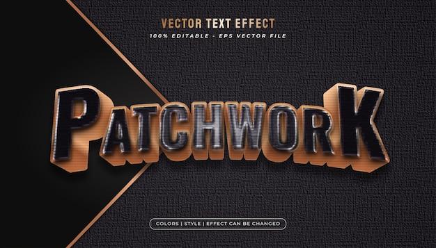 Odważny I Elegancki Tekst Z Efektem Patchworku I Plastikowym Opakowaniem W Czarno-złotej Koncepcji Premium Wektorów