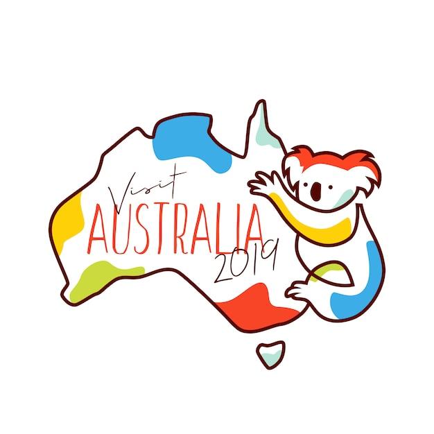 Odwiedź australię 2019 ilustracji wektorowych towarów Premium Wektorów