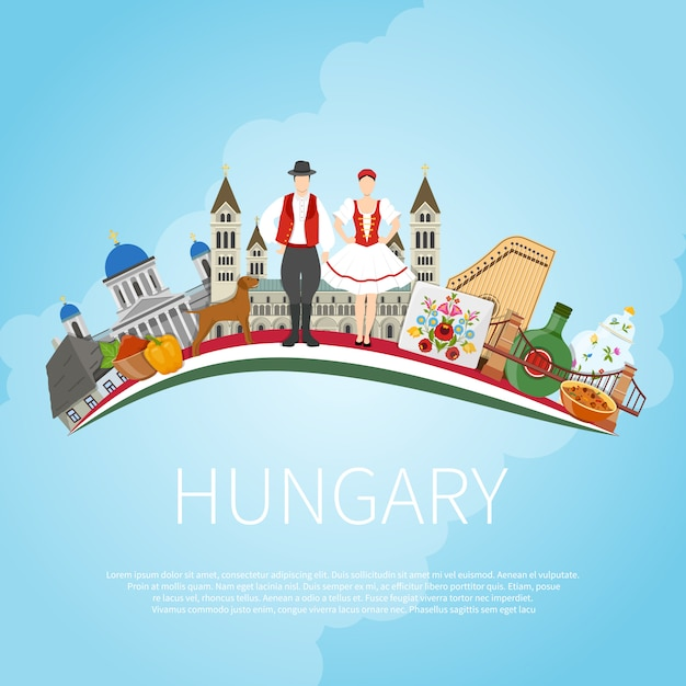 Odwiedź Węgry Cloud Concept Darmowych Wektorów