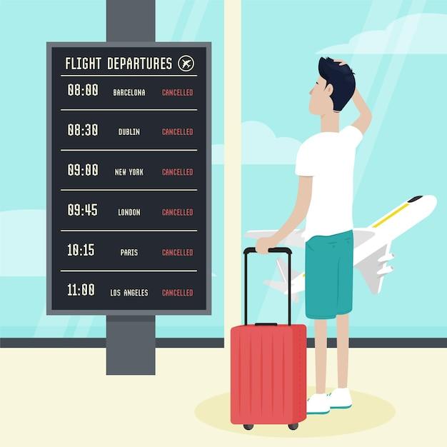 Odwołany Lot Z Mężczyzną Na Lotnisku Darmowych Wektorów