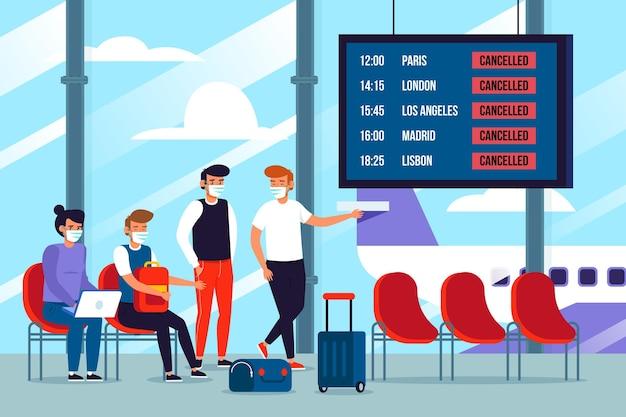 Odwołany Lot Z Pasażerami Darmowych Wektorów