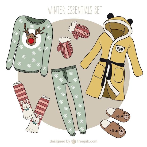 Odzież zimowa kolekcja christmas Darmowych Wektorów