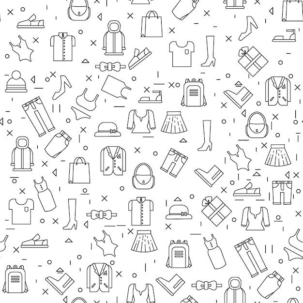 Odzieżowe rzeczy na białym tle bezszwowego wzoru cienka linia Premium Wektorów
