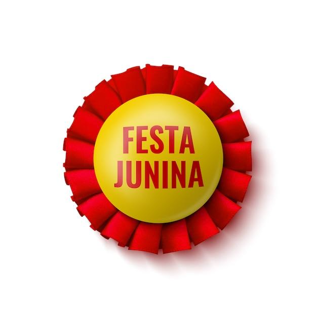 """Odznaka Czerwono-żółta. Ozdoba Z Nazwą Festiwalu Brazylijskiego. Ilustracja. """"festa Junina"""" - Festiwal Czerwcowy. Premium Wektorów"""