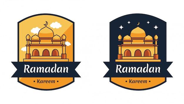 Odznaka Godła Islamskiego świętego święta Ramadan Kareem Premium Wektorów