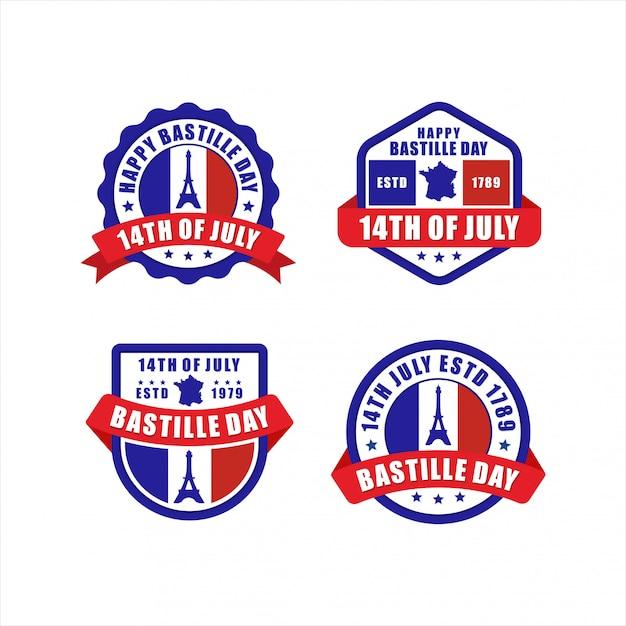 Odznaka Happy Bastille Day 14 Lipca Paris France Collection Premium Wektorów
