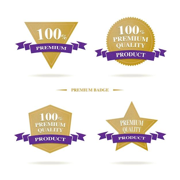 Odznaka Logo 100% Premium Quality W Kolorze Złotym I Ciemnofioletowym, Luksusowy Produkt Bannerowy Premium Wektorów