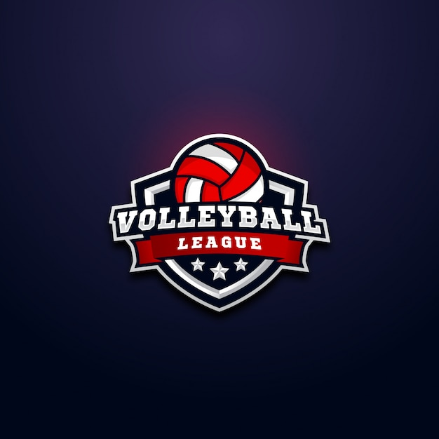 Odznaka logo ligi siatkówki Premium Wektorów