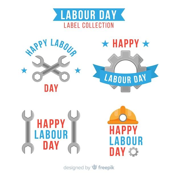 Odznaka Odznaki Płaski Dzień Pracy Darmowych Wektorów