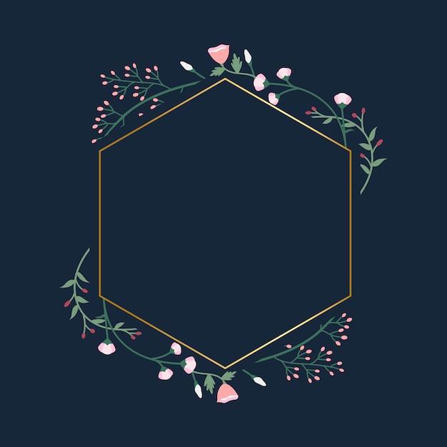 Odznaka ramki kwiatu Darmowych Wektorów