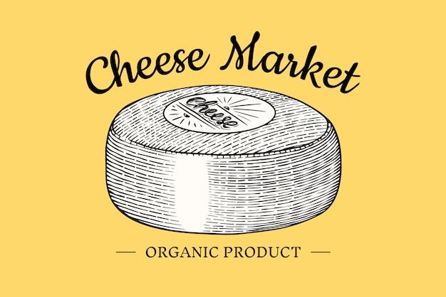 Odznaka Sera. Vintage Logo Dla Rynku Lub Sklepu Spożywczego. świeże Mleko Organiczne. Premium Wektorów