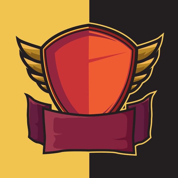 Odznaka skrzydlata tarcza dla elementów projektu logo esport Premium Wektorów