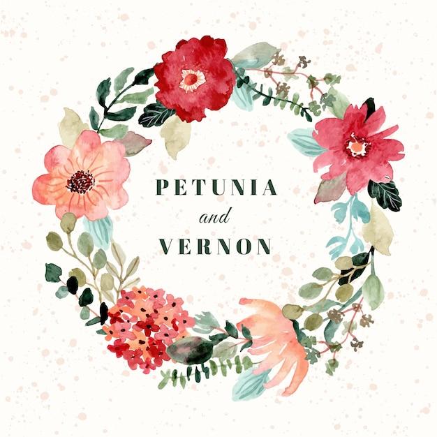 Odznaka ślubna z pięknym wieńcem akwareli kwiatowych Premium Wektorów