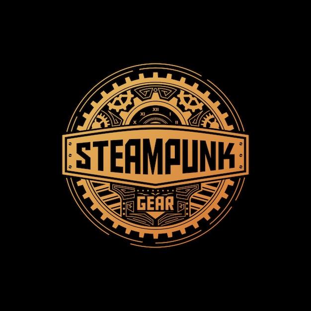 Odznaka Sprzętu Steampunk Premium Wektorów