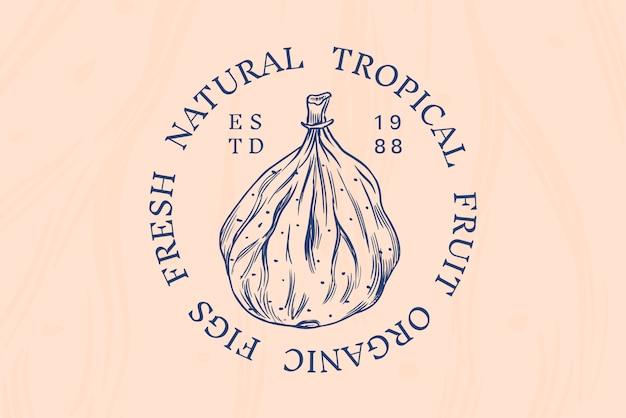 Odznaka świeża Figa. Etykieta Lub Logo Liści Suszonych Owoców. Przyprawa Do Detoksykacji. Premium Wektorów