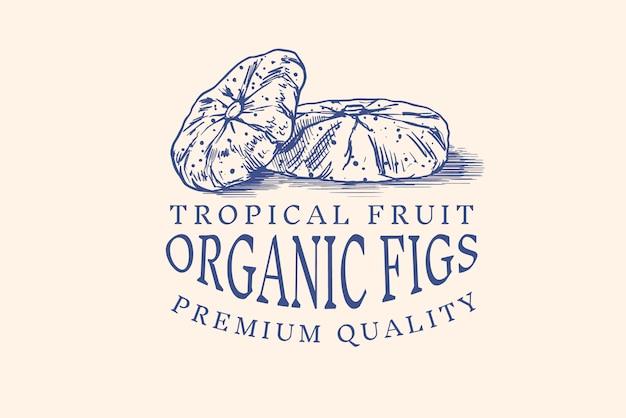 Odznaka świeża Figa. Etykieta Lub Logo Liści Suszonych Owoców. Wytnij Kawałki. Przyprawa Do Detoksykacji. Premium Wektorów