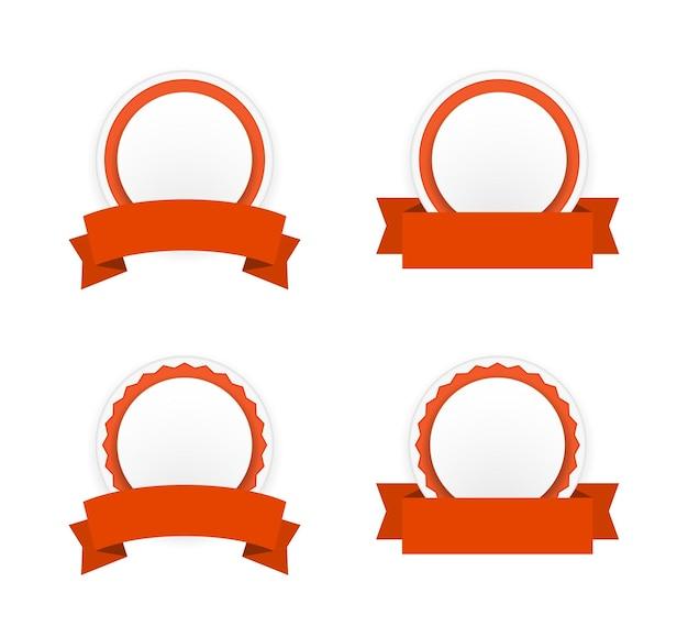 Odznaka Transparent Okrągły Papier Z Zestawem Ikon Wstążki Premium Wektorów