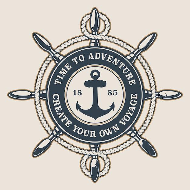 Odznaka Z Kołem Sterowym, Kotwicą I Liną Na Jasnym Tle. Tekst Znajduje Się W Osobnej Grupie. Premium Wektorów