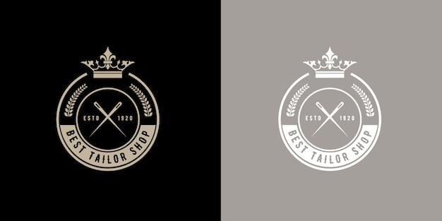 Odznaka Z Okrągłym Monogramem W Stylu Retro W Stylu Retro Do Ręcznie Robionego Garnituru Atelier Krawieckiego Lub W Szwalni Okrągła Naszywka Z Logo W Stylu Retro W Stylu Retro Do Ręcznie Robionej Pracowni Krawieckiej Lub Sklepu Z Krawędzią Premium Premium Wektorów