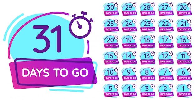 Odznaka Za Dni. Odliczanie Dnia Roboczego, Licznik Daty Wydania I Zestaw Ilustracji Odznaki Numer Timera Premium Wektorów