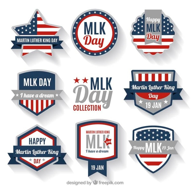 Odznaki Dla Martina Luthera Kinga Dzień Z Fantastycznymi Motywami Darmowych Wektorów