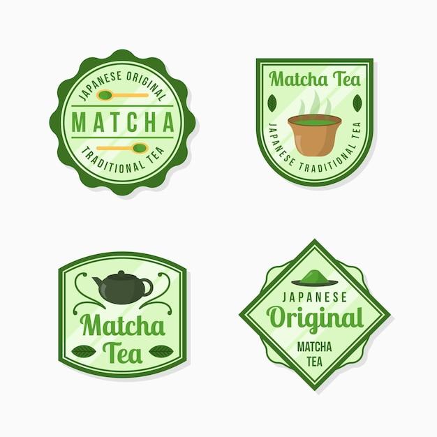 Odznaki Herbaty Matcha Darmowych Wektorów