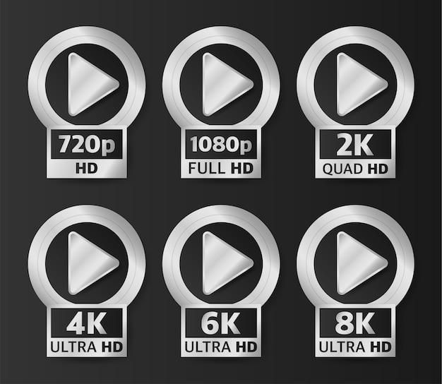Odznaki Jakości Wideo W Kolorze Srebrnym Na Czarnym Tle. Hd, Full Hd, 2k, 4k, 6k I 8k. Premium Wektorów