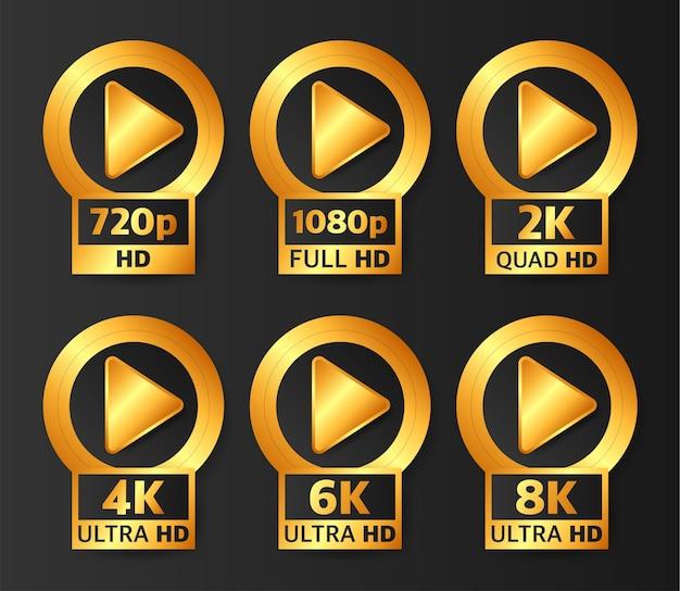 Odznaki Jakości Wideo W Kolorze Złotym Na Czarnym Tle. Hd, Full Hd, 2k, 4k, 6k I 8k. Premium Wektorów