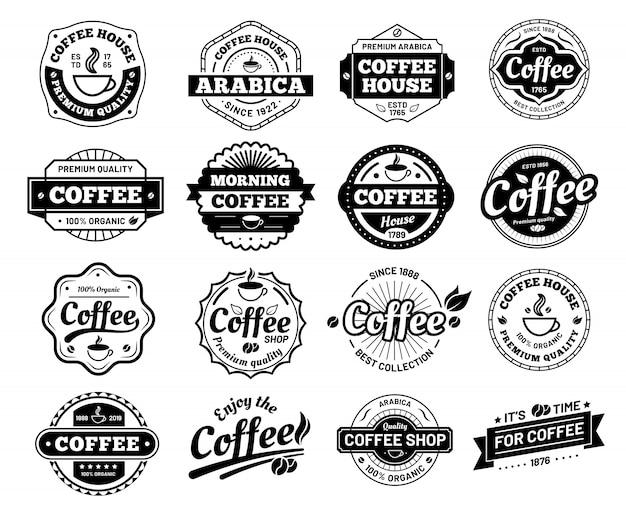 Odznaki Kawowe. Naklejka Ze Znaczkiem Logo Kawiarni. Logotyp Restauracji. Vintage Logo Na Białym Tle Premium Wektorów