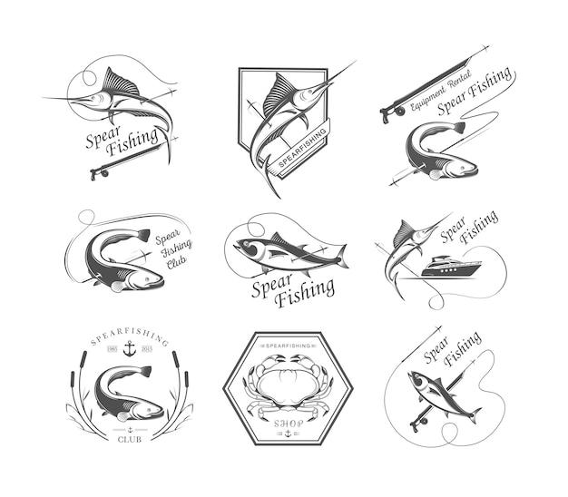 Odznaki łowiectwa podwodnego Premium Wektorów
