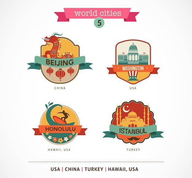 Odznaki Miast świata - Pekin, Stambuł, Honolulu, Waszyngton Premium Wektorów