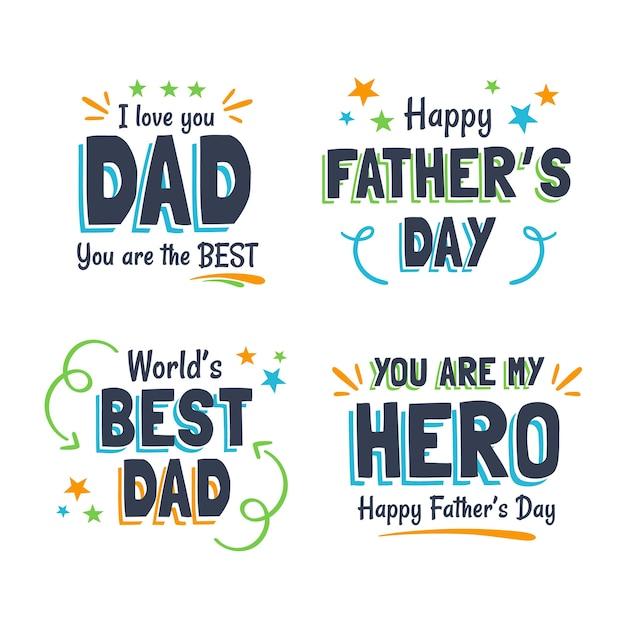Odznaki Na Dzień Ojca W Płaskiej Konstrukcji Darmowych Wektorów